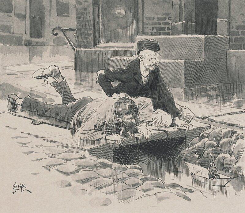 To gutter med papirbåt