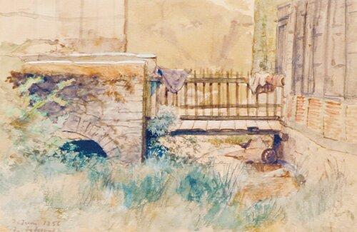 Studie av landskap med bro 1856