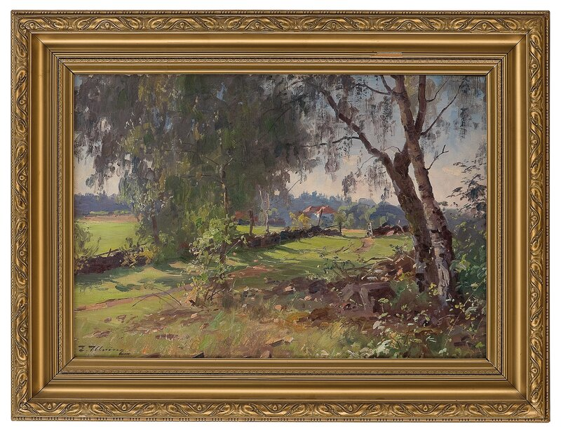 Landskap med hus