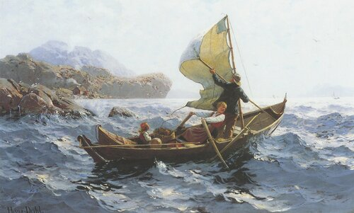 Woman, Man and Child in an Oselver Boat