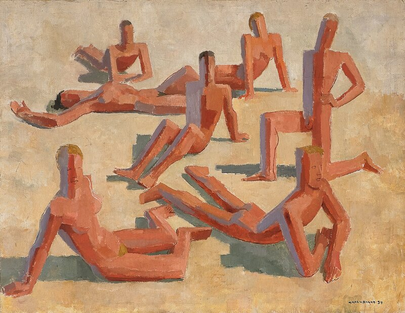 Solbadende kvinner og menn 1934