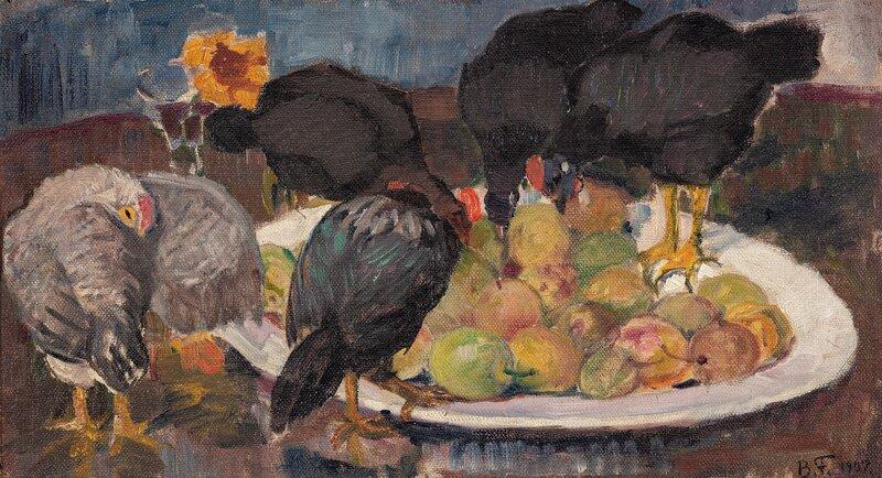 Høner og fruktfat 1907