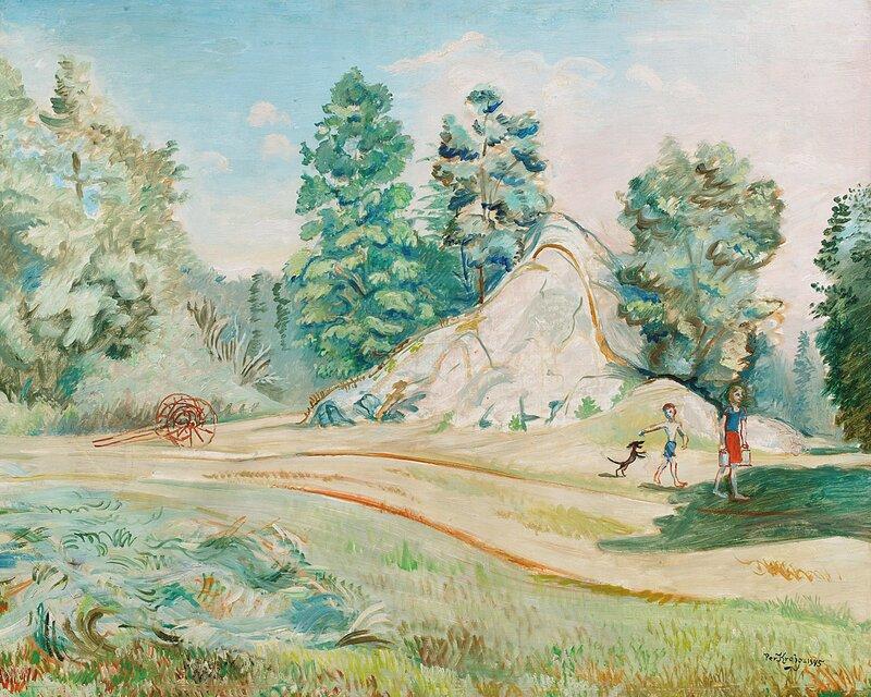 Landskap med jente, gutt og dachs 1945