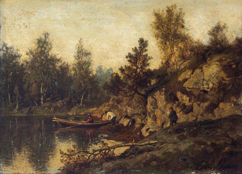Innsjø med robåt og mennesker 1876