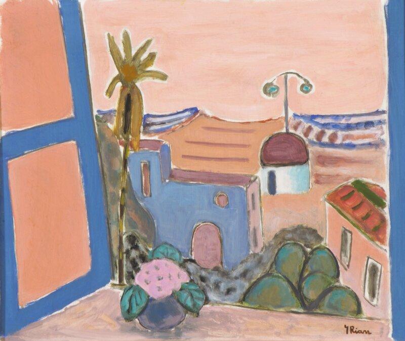 Utsikt fra vindu mot sydlandsk landsby