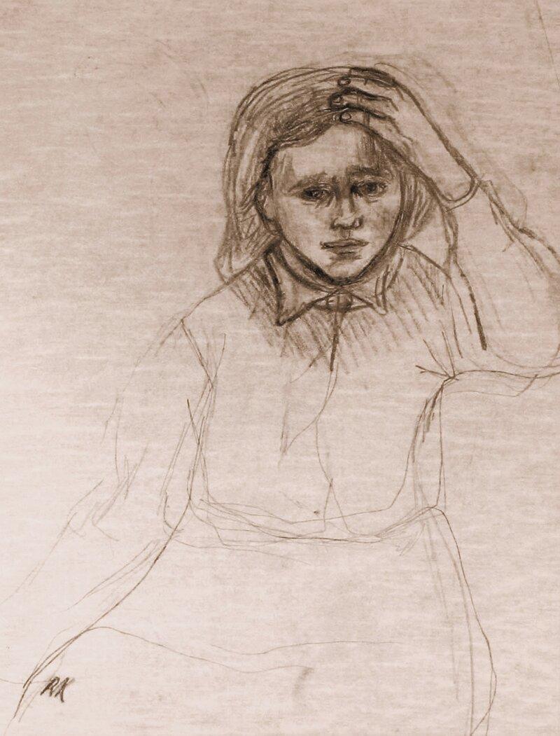 Sittende pike som støtter en hånd mot hodet