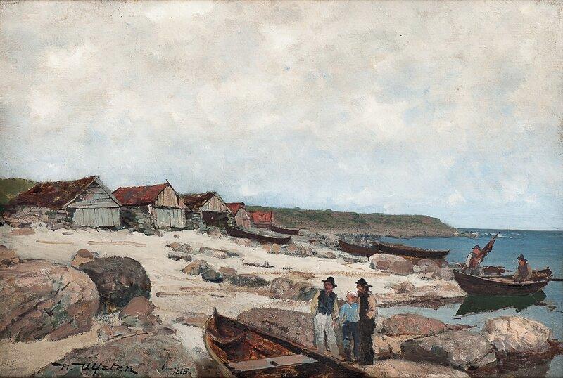 Kystlandskap med fiskere, naust og robåter 1885