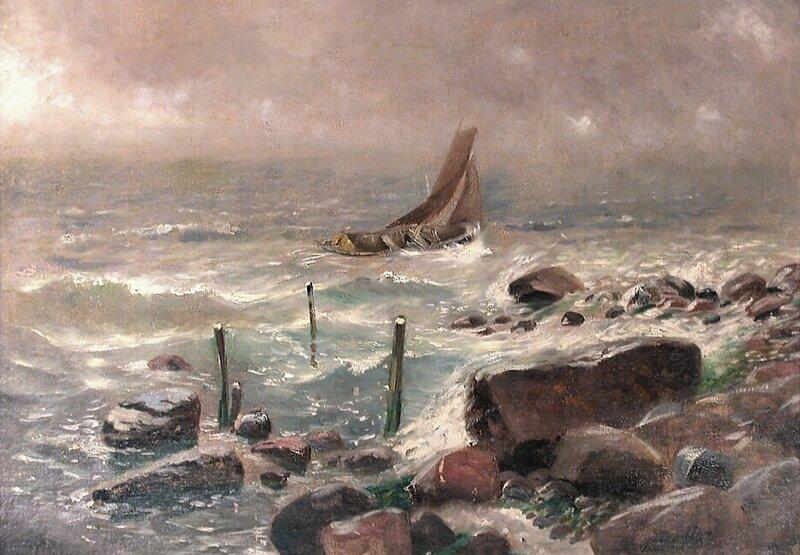 Opprørt sjø med båt