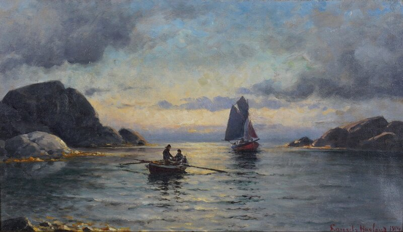 Seilbåt og robåt med fiskere 1914