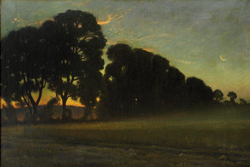 Åker og løvtrær i aftenlys 1901