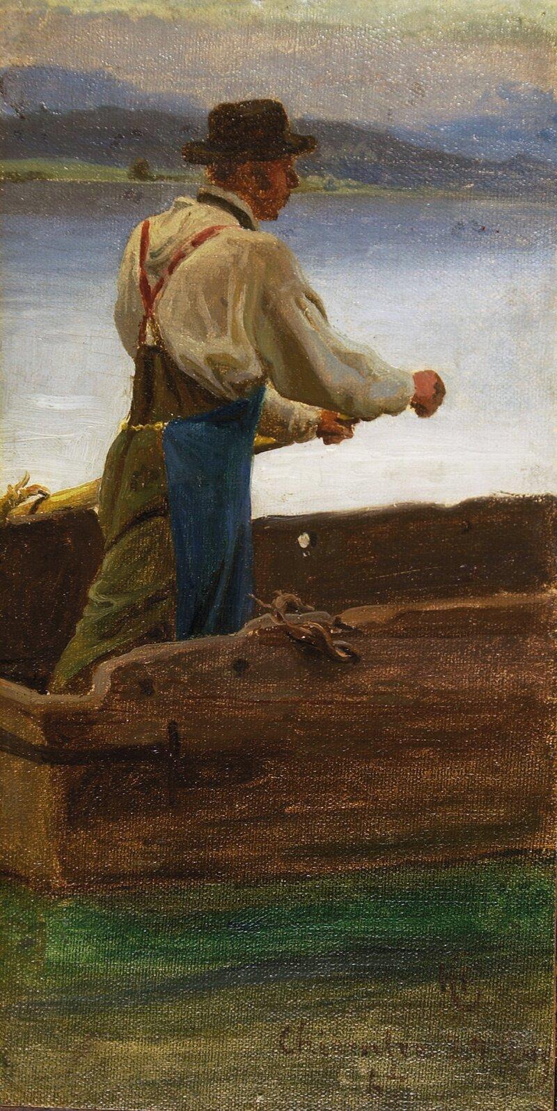 Roende mann Chiemsee 1867