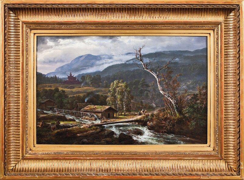 Landskap i Kaupanger med en stavkirke 1847