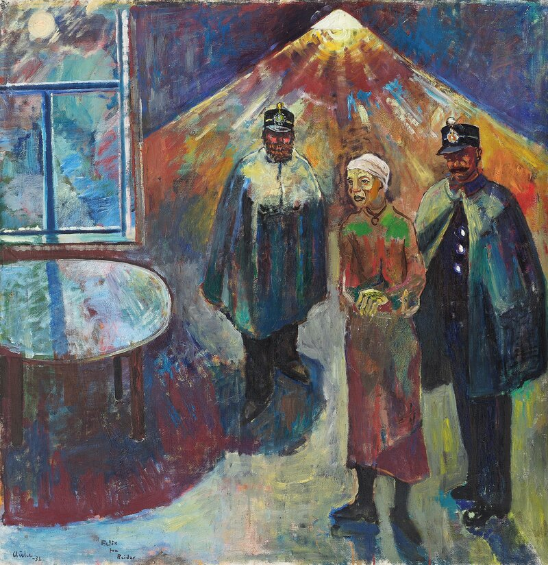 Kvinne og to politikonstabler 1932