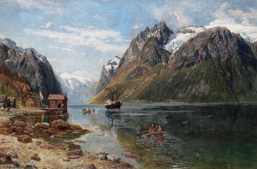 Dampbåt og robåter i fjordlandskap 1898