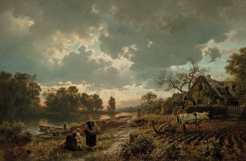 German Landscape in Spring, with Oxen ploughing 1860