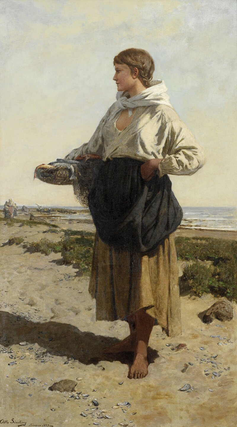 Fiskerjente på strand 1883