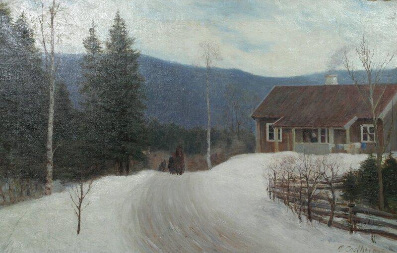 Hus ved kjerrevei med hest og slede