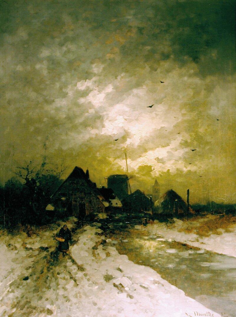 Vinterlandskap med mølle 1882