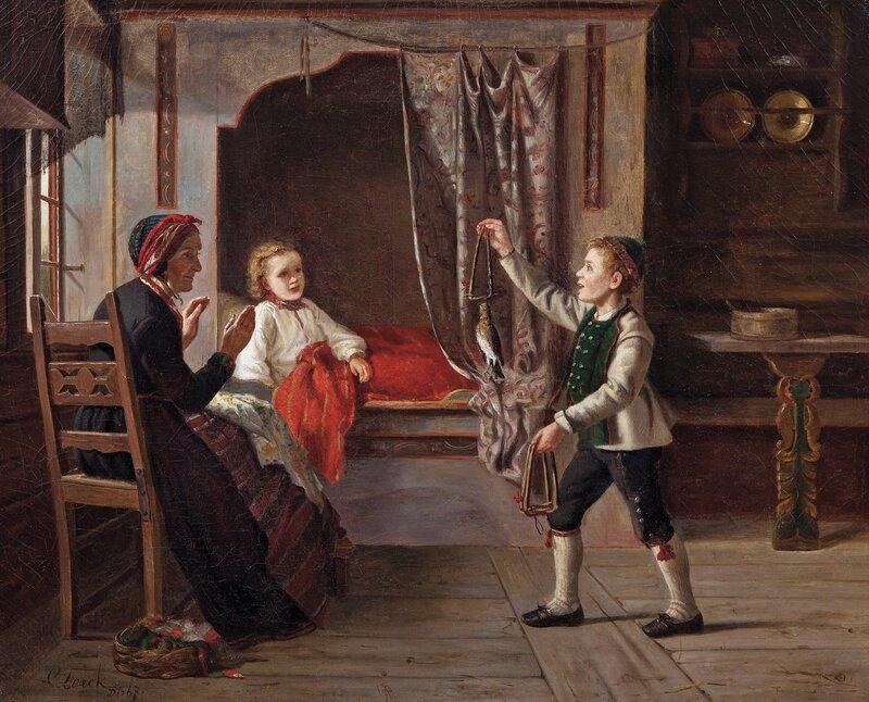 Interiør med kvinne og to barn 1867