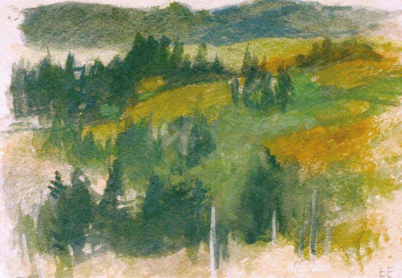 Landskap med åkre og trær