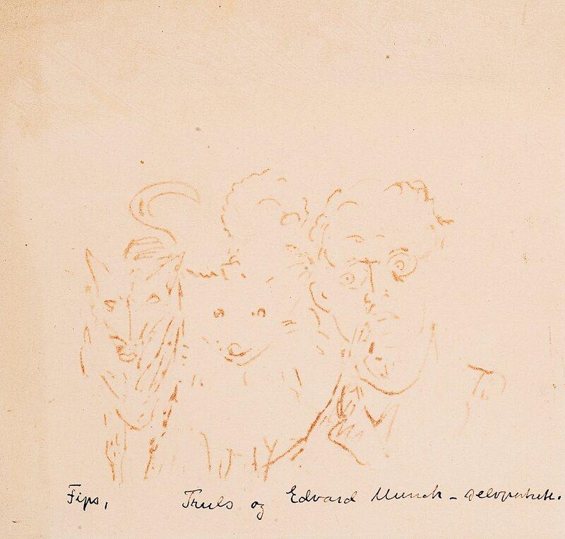 Selvportrett med to hunder Truls og Fips III