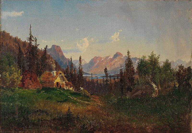 Fjellgård med kvinne og geiter 1851