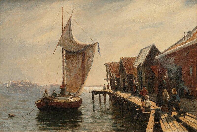 Folkeliv ved brygge 1876