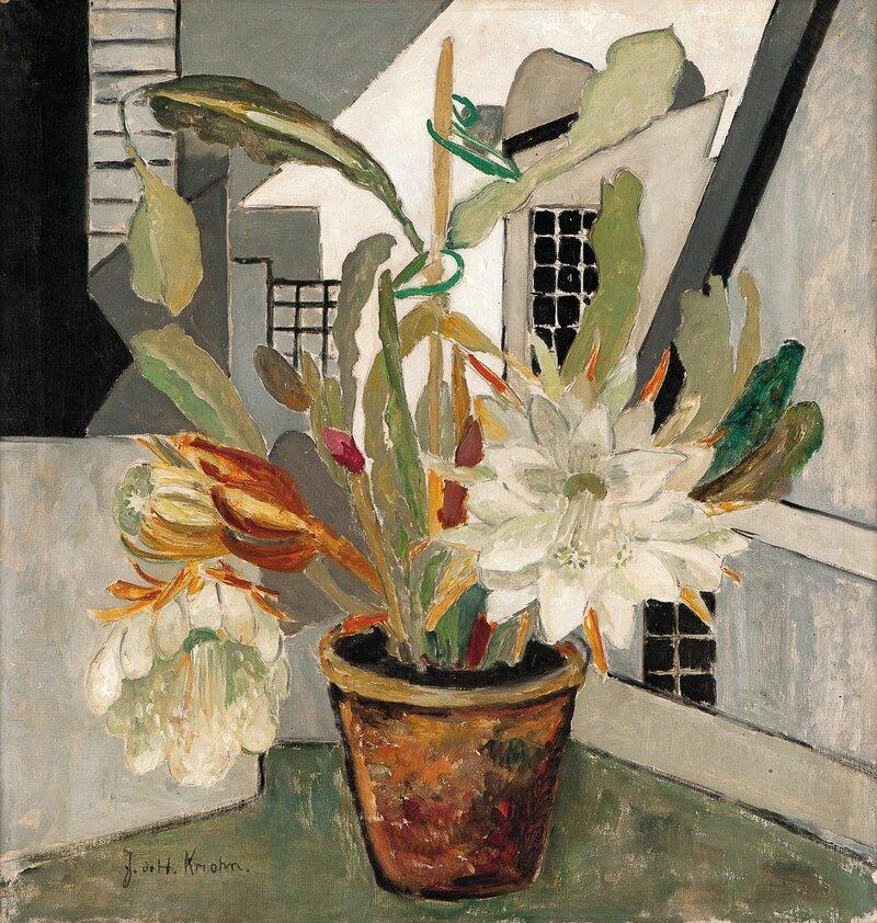Oppstilling med blomst i potte
