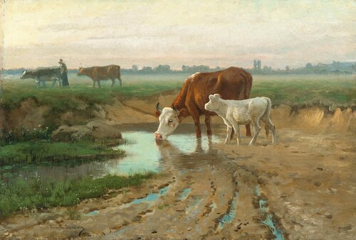 Landscape with cows and a cowgirl 1882