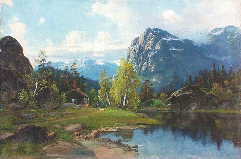 Tømmerhytte i fjellandskap 1899