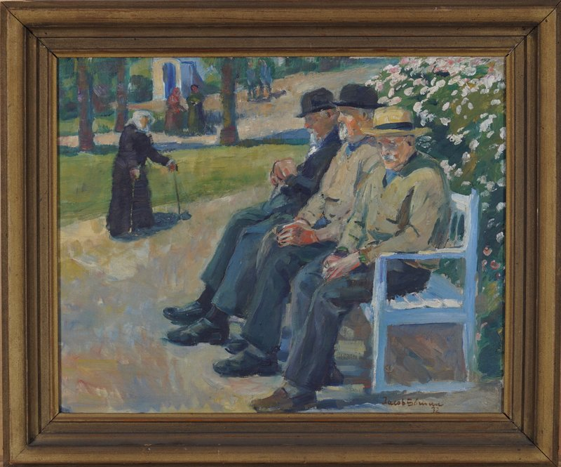 Tre menn på en benk 1932
