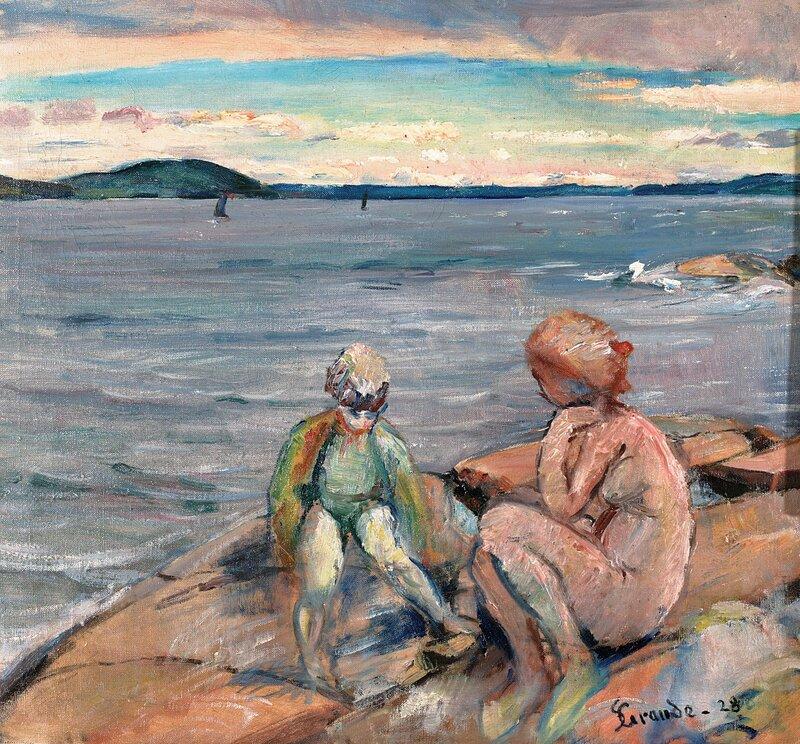 Kvinne og barn på svaberg 1928