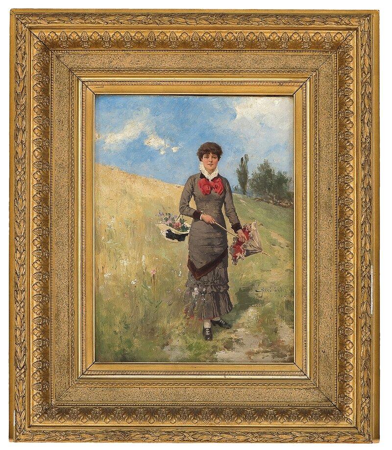 Ung kvinne i blomstereng 1882