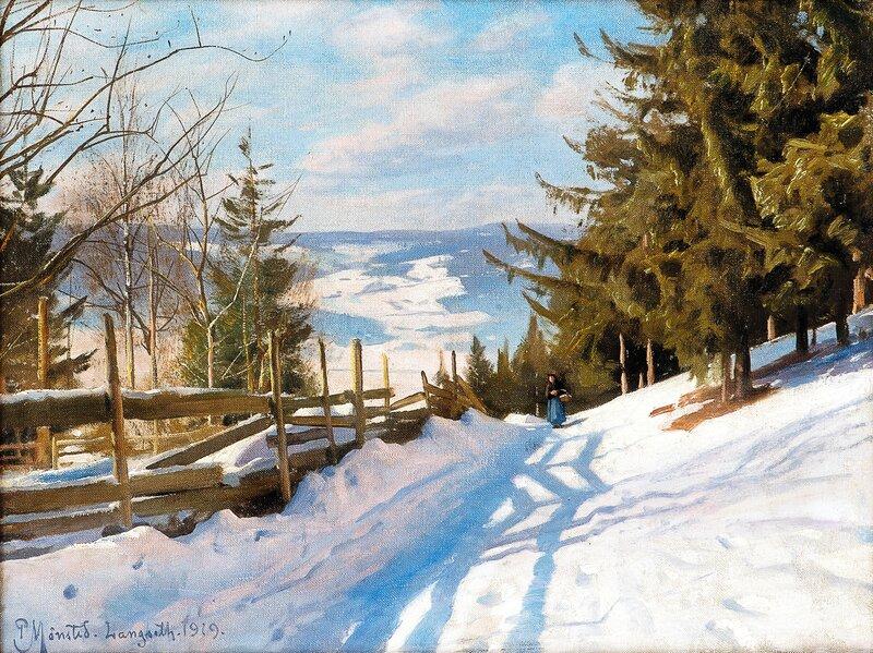 Woman in winter landscape, Langseth, Lillehammer