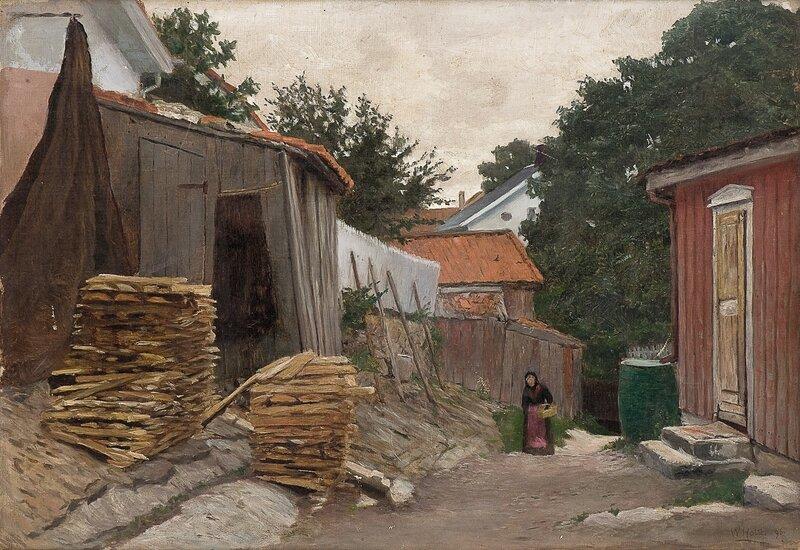 Gående kvinne i småbyinteriør 1896