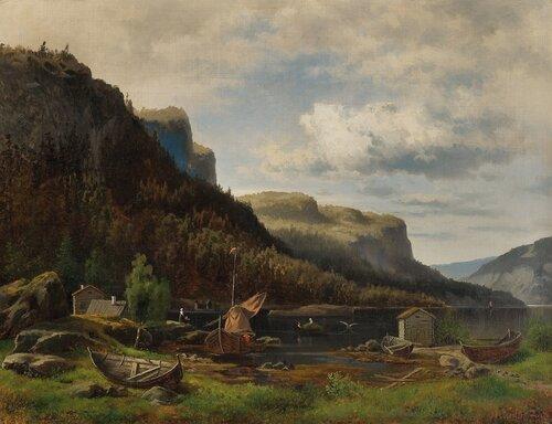 Fjordlandskap med folkeliv 1860