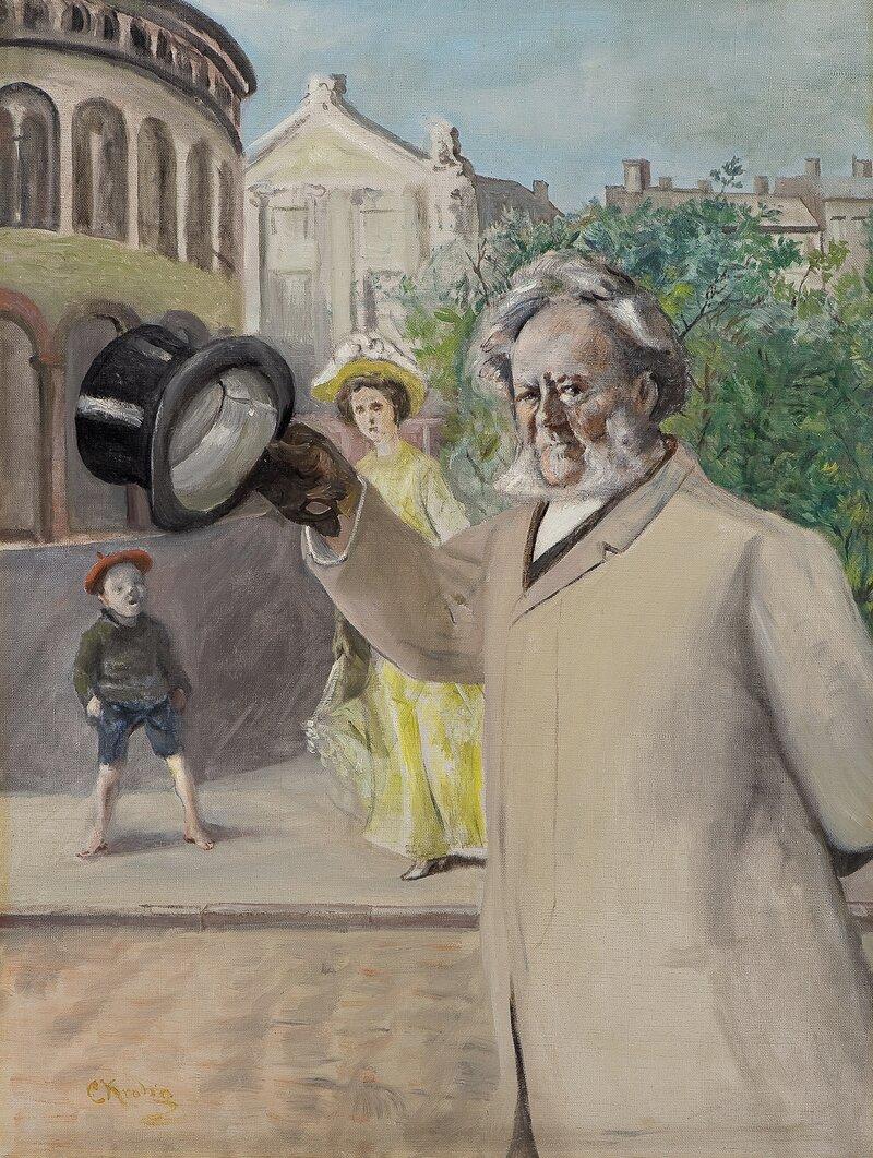 Portrett av Henrik Ibsen på Karl Johan