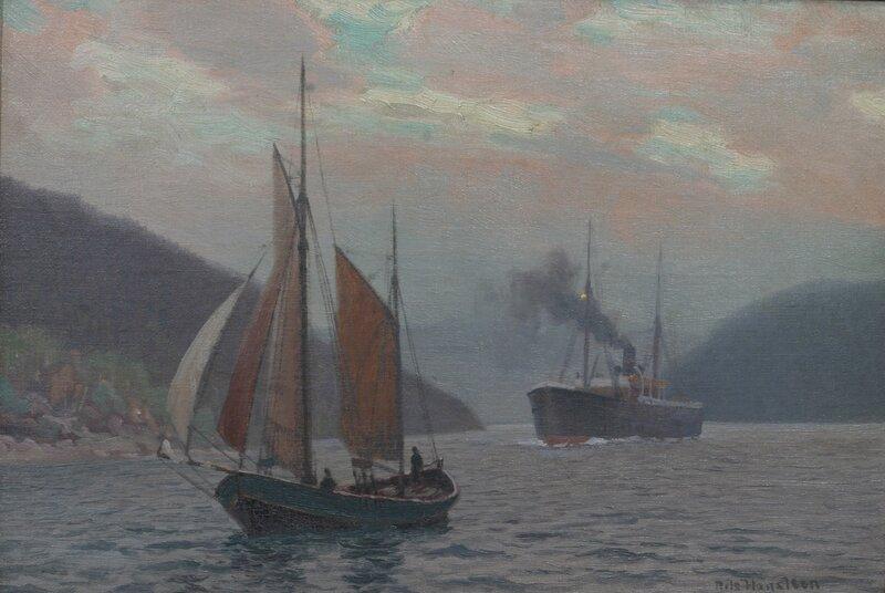 Seilskute og dampbåt, fjordabåter sommernatt