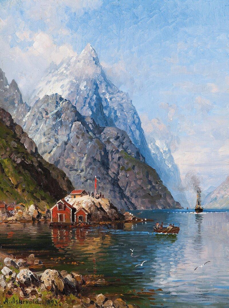 Dampbåten kommer, Sognefjorden 1893