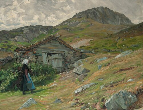 Girl by a wooden hut in mountainous landscape, Nord-Gudbrandsdalen