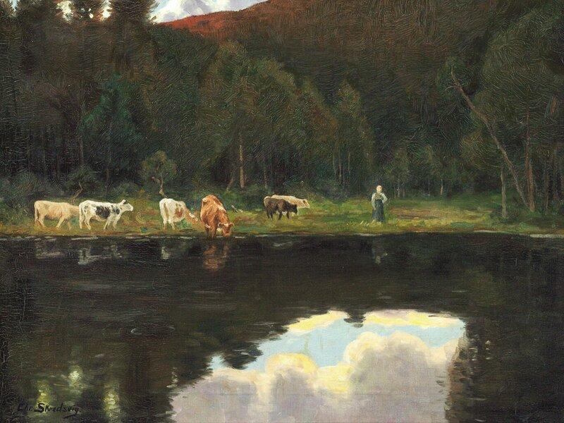 Budeie med kyr ved skogstjern