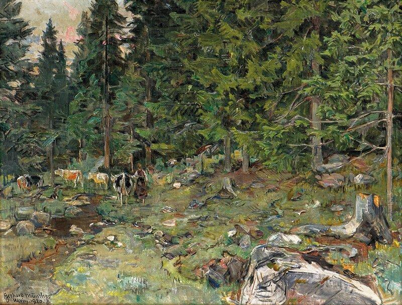 Kyr i skogen Ulvin 1920