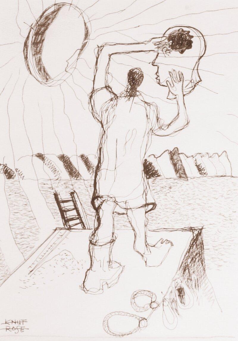Komposisjon med mann på brygge