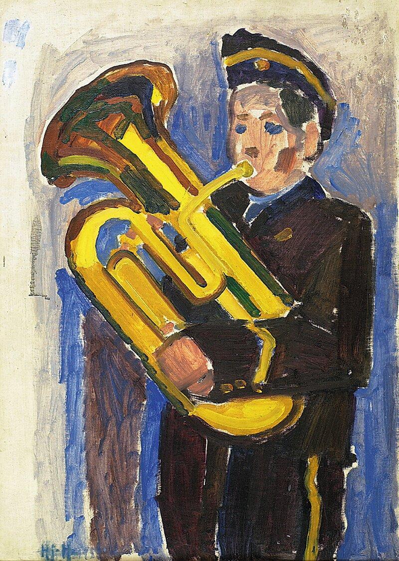 Guttemusikant med tuba 1953