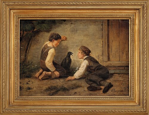To gutter med en ravn