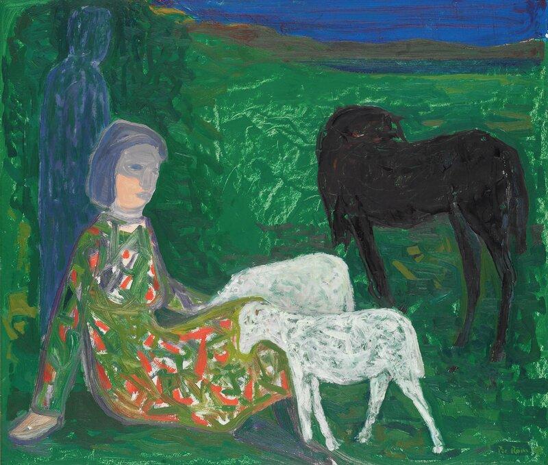 Kvinne og mann med hest og sau 1943