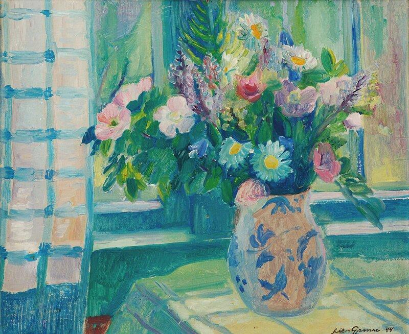 Oppstilling med blomster i vase 1944