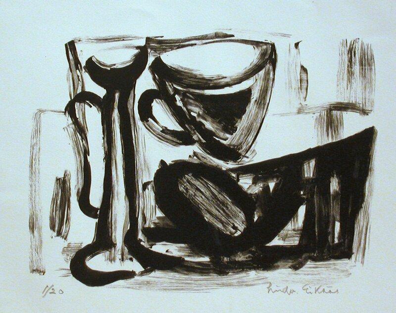 Oppstilling med vase og kopp