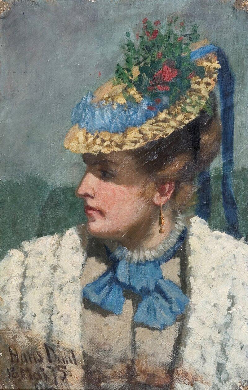 Kvinne med stråhatt 1875