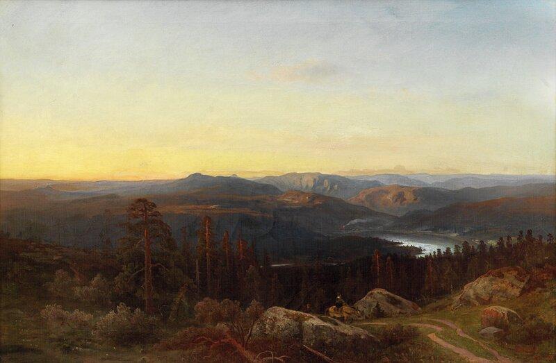 Norsk landskap med mann og kvinne til hest 1868